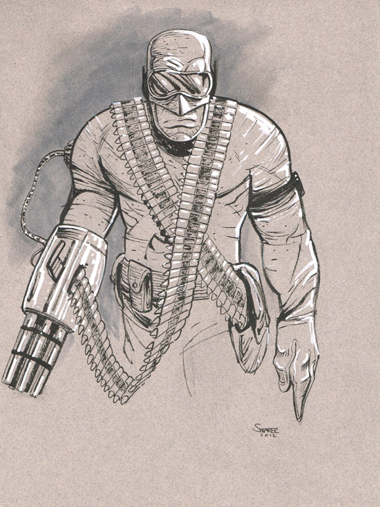 Daily Sketch: Henchman with a machine gun arm