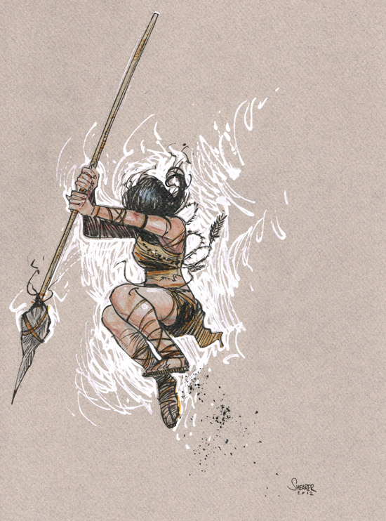 Daily Sketch: Warrior Girl on Canson Paper